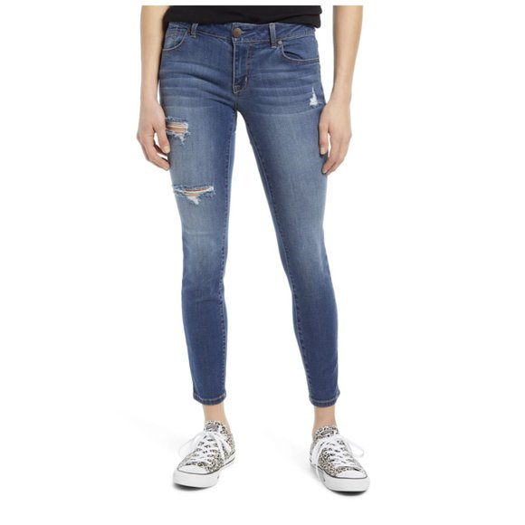 NWT 1822 Ripped Ankle Skinny Legging Jeans 33